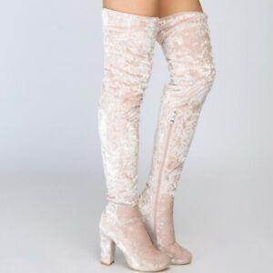 Women Velvet Pattern Casaul Knee High Boots Block Heel Casaul Boots EUR 35-47