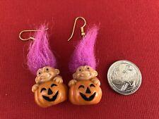 Vintage Halloween Troll  Pumpkin Dangle Earrings  Jack O Lantern