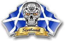 Mexican Sugar Skull & Scotland Scottish Saltire Flags vinyl car helmet sticker