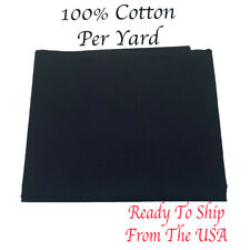Black 100% Cotton Fabric Prepackaged By The Yard- Mask Making Fabric- Soft