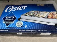 """Oster Buffet Server Warming Tray Triple Tray 2.5 Quart Stainless Steel 20/"""" x 13/"""""""