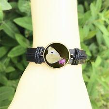 yellow butterfly Black Bangle 20 mm Glass Cabochon Leather Charm Bracelet
