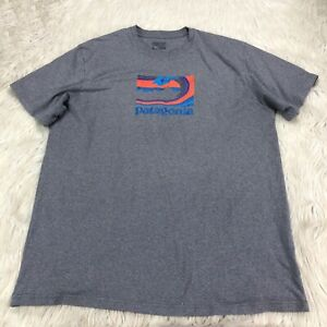 Patagonia Men's XL Speckled Gray Wave Logo Graphic Tee Short Sleeve