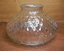 """Beaded Quilted Diamond Pattern Clear Glass Shade w/ Plain Top & 6 3/4"""" Fitter"""
