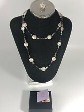 Ratities MLD Pink Disc Pearl Amethyst Green Onyx Necklace- 36""