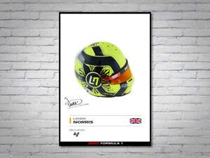 Lando Norris McLaren F1 Formula 1 2021 Helmet Signed Poster A4
