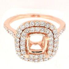 14k Rose Gold Semi Mount Double Diamond Halo Ring Setting  0.98 Cts -Cushion Cut
