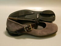 ASGI Women's Mary Janes Splendor Shoes Comfort Suede Leather Gray Sz 7M EUC Rare