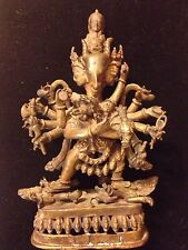 RARE Antique Tibetan Tantric Yamantaka Statue With Consort-Many Arms And Heads!
