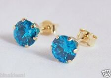 Ladies Girls 9ct Gold 5mm Round LONDON BLUE TOPAZ Stud Earrings B'day GIFT BOX N