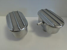 Finned Oval Polished Aluminum Valve Cover Breather & PCV Valve Combo Nostalgia