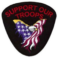 SUPPORT OUR TROOPS EMBROIDERED IRON ON BIKER  PATCH