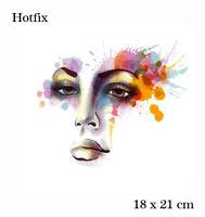 18 x 21 cm Bügelbild buntes Gesicht Hotfix Applikation für Ihre Textilien