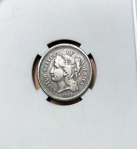 1866 Nickel 3 Cent Piece - Nicer Grade - Nickel 3c Piece - 3c Nickels