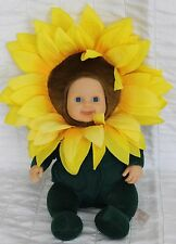"Anne Geddes Baby Doll 12 "" Sunflower White Blue Eyes 2005 Tongue Out"