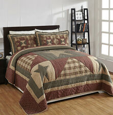 Patchwork Quilt Set Queen Size Star Tan Red Black Plaid Primitive Bedding