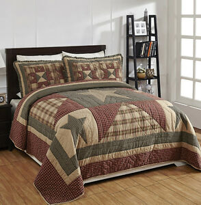 Patchwork Quilt Set Queen Size Star Tan Red Black Plaid Primitive Bedding