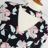 Kaari Blue Dress M Medium Blue Pink Floral on Black Choker Long Sleeves