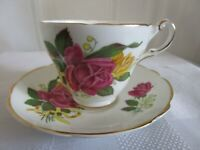 Vintage REGENCY Cup & Saucer Bone China Pink Yellow Roses Lily Of the Valley