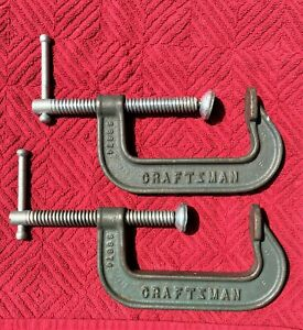 """CRAFTSMAN 5 INCH MALLEABLE  """"C"""" CLAMPS NO. 66674 USA ( A PAIR TWO (2) EACH)"""