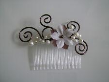 Bijou cheveux peigne robe de Mariée/Mariage Fleur Ivoire/Chocolat/Blanc cassé