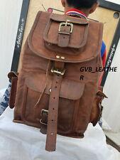 Genuine Vintage Handmade Leather Drawstring Backpack Rucksack travel Bag Women's