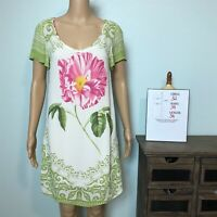 Anthropologie Farm Rio Shift Floral Dress SMALL Pink Green Floral Sheer & Slip