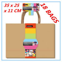 18 X CRAFT DIY BROWN GIFT BAGS WITH HANDLE 35 x 25CM PARTY GIFT WRAP WRAPPING a