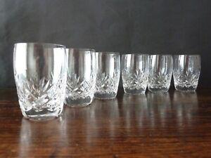 6x Stuart Crystal Ludlow Cut Whisky Glasses 1/2 Size, Signed, h8,3cm