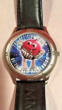 M&M 1998 Limited Edition Unisex Wrist Watch Black Leather Band- Needs Battery