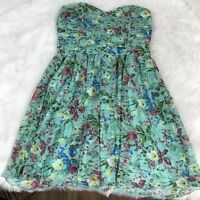 WINDSOR Green Floral Strapless Flowy Formal Dance Summer Dress Juniors Size 13