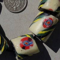 8 old antique venetian cylindrical millefiori african trade beads #4789