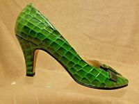Anyi Lu Women Green Black Leather Croc Print Buckle Heels Pumps Shoes Size 39.5