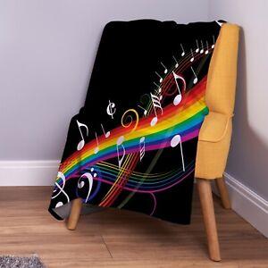 Rainbow Music Note Design Soft Fleece Throw Blanket