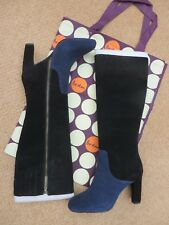 Brand New Boden Two Tone Suede Boots Retro Styling + Storage Bag Sz UK 8 / EU 42