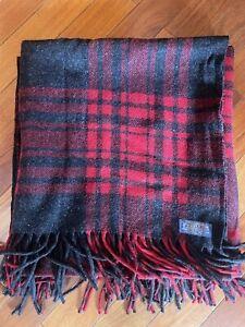 "Vintage Pendleton Wool Stadium Blanket Red/Gray Plaid 50.5 x66"""