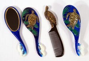 Hand Painted Art Hair Brush Mirror Comb Brown Sea Turtle Design (Set of 3) C005S