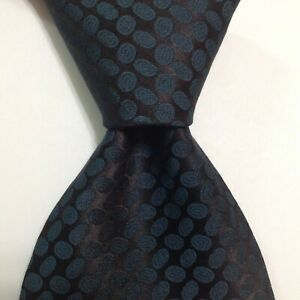 GIORGIO ARMANI Cravatte Men's Silk Necktie ITALY Designer OVALS Blue/Black GUC