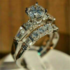 Engagement Wedding Bridal Ring Set 3 Ct Round Diamond Luxury Ring 14K White Gold