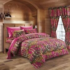 4Pc Pink/Fuchsia Camo Comforter Sheet Set Woods Twin Size Camoflauge Bedding