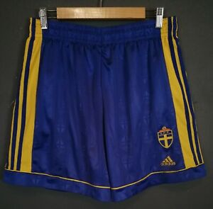 VINTAGE ADIDAS MEN'S SWEDEN NATIONAL 2000/2002 SHORTS FOOTBALL SOCCER SIZE XL