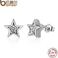 Earrings With Clear Cz For Women Bamoer Shining S925 Sterling Silver Stud Star