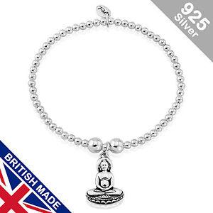 Trink Brand Silver Buddha Sterling Silver Beaded Charm Bracelet