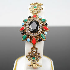 FT- Women's Vintage Bohemia Chain Bracelet Crystal Colorful Resin Gold Plated Ba