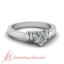 Half Carat Heart Shaped Diamond Solitaire Bow Style Engagement Ring For Women