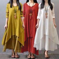 5XL Loose Maxi Dress Zanzea Women V Neck Long Sleeve Mori Girl Casual Big Skirt
