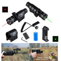 Tactical Red Green Dot Laser Sight Scope Rail+Remote Switch Beam Hunting