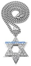Star Of David Necklace New Rhinestone Pendant with Cuban Link Chain