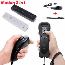 Built in Motion Plus Remote Nunchuck Controller 2 in1 Set For Wii U Wii Black WH