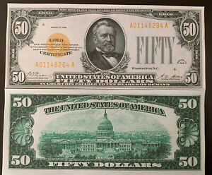Reproduction USA United States $50 Bill Gold Certificate 1928 Ulysses Grant Copy